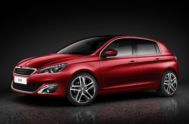 2013 Peugeot 308 - maroon - front three-quarter studio shot