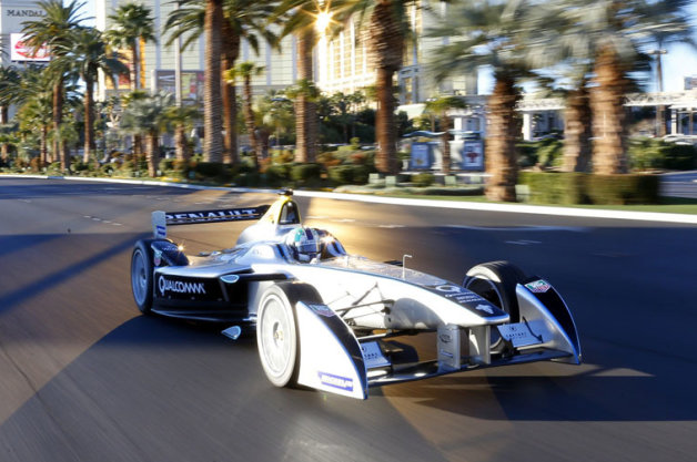 Formula E car debuts on Las Vegas strip