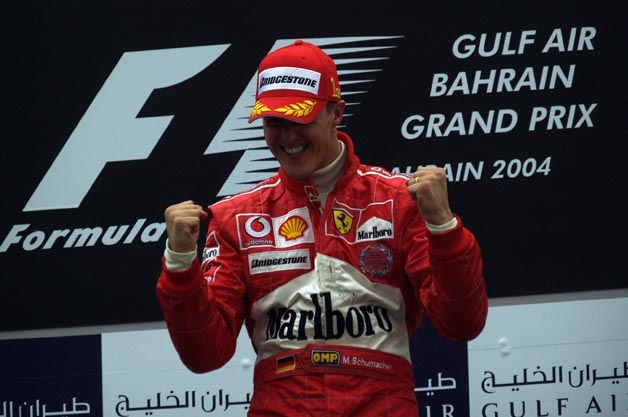 Michael Schumacher wins the 2004 Bahrain Grand Prix
