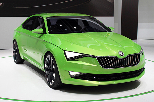 Skoda VisionC concept at the 2014 Geneva Motor Show, front three-quarter view