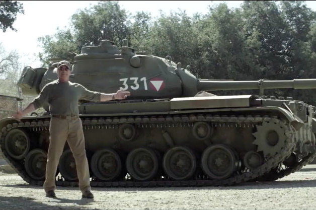 Arnold Schwarzenegger and a tank for charity