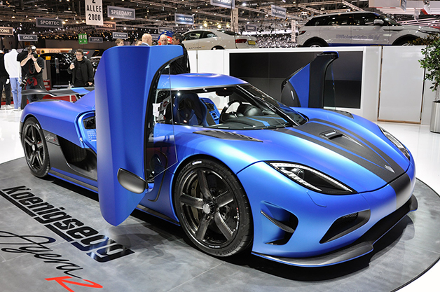 A Koenigsegg Agera R at the 2012 Geneva Motor Show, front three-quarter view