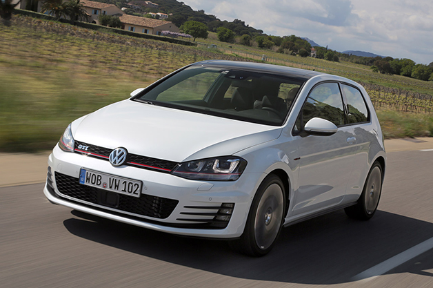 2015 Volkswagen GTI, front three-quarter view