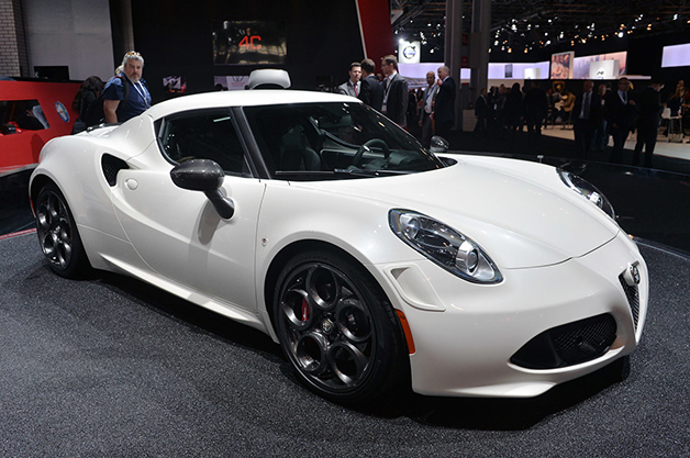 Alfa Romeo 4C Launch Edition at the 2014 New York Auto Show, front-three quarter view.
