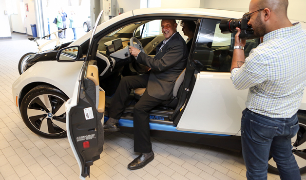 Charles Rabie takes deilvery of first BMW i3 in U.S..