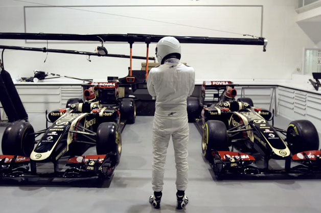 The Stig at Lotus F1 HQ