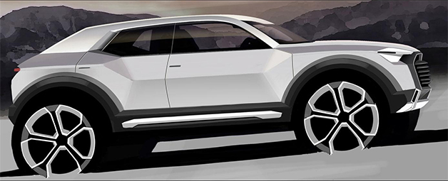 Rendering of the Audi Q1, side view.