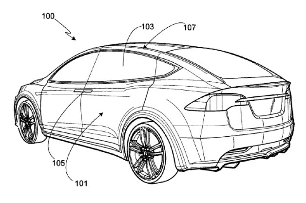 US Patent Office Tesla Motors Model S drawing