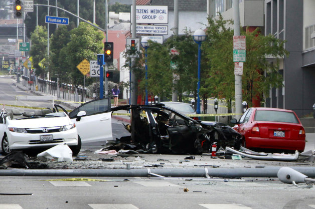 Tesla Model S crash in Hollywood